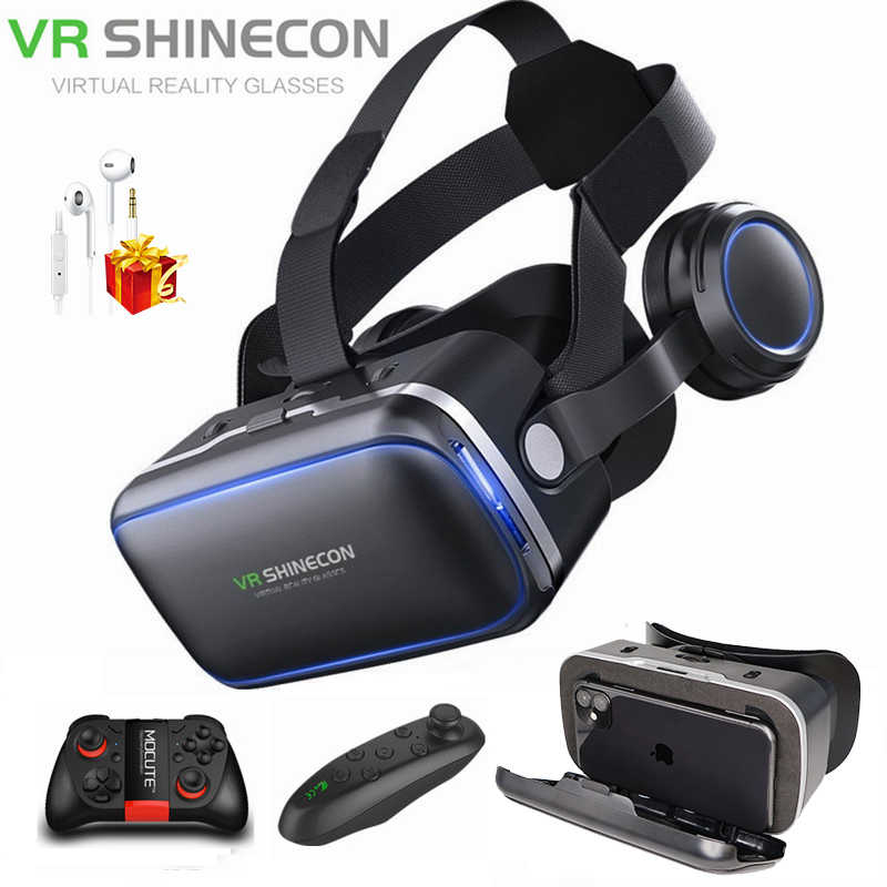 Shinecon 6.0 3D Casque VR Virtual Reality Kacamata dengan Gamepad 3 D VR Kacamata Headset Helm Kotak untuk iPhone Android controller