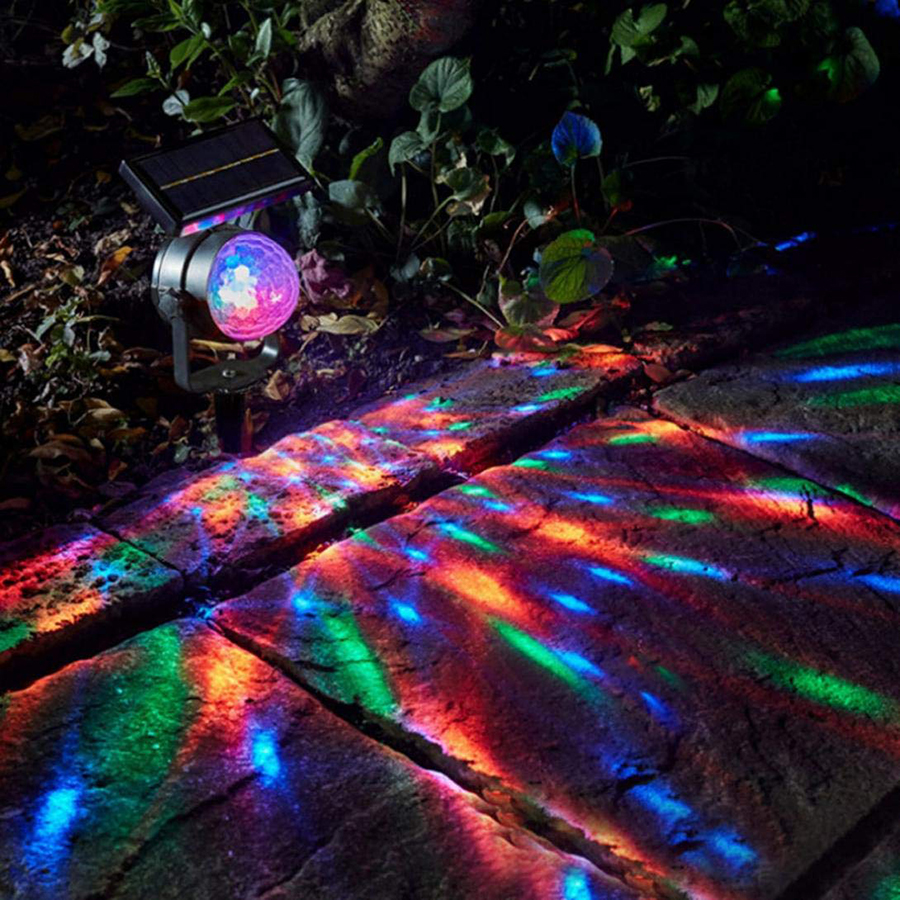 Solar Powered Rotating RGB Crystal Magic Ball Disco Stage light Christmas Party Lamp Outdoor Garden Lawn Laser Projector Lamp