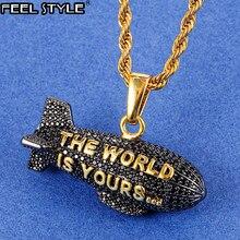 Hip Hop le monde est à vous dirigeable couleur argent Zircon cubique colliers et pendentifs pour hommes bijoux avec chaîne de Tennis