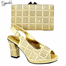 Latest party set gold African high heel shoes with purse bag set nice matching for lady dress 528-3, heel height 10cm(China)