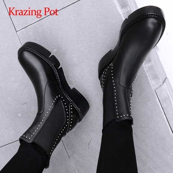 Krazing pot limited customization natural leather rhinestone round toe med square heel slip on patchwork maiden ankle boots L11