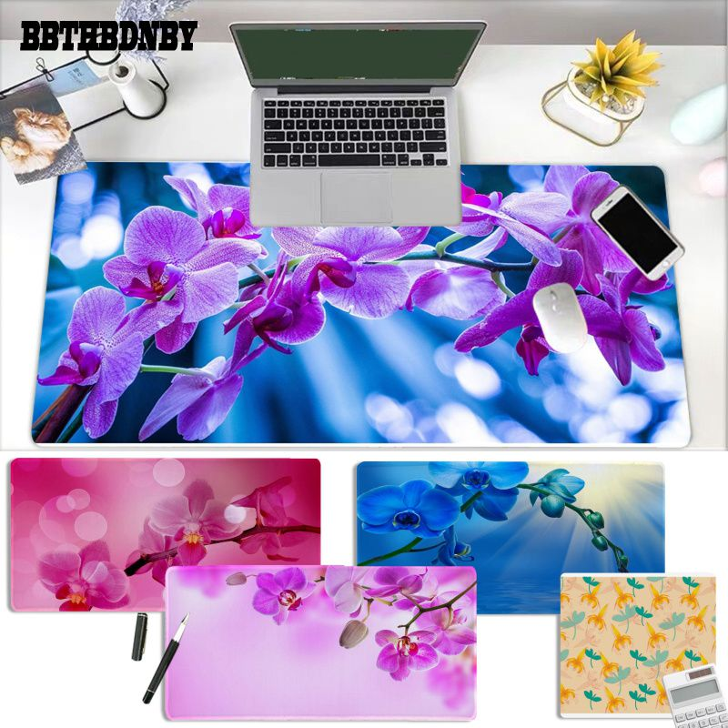 BBTHBDNBY Orchid flower large gaming mousepad L XL XXL gamer mouse pad Size for Deak Mat for overwatch/cs go/world of warcraft