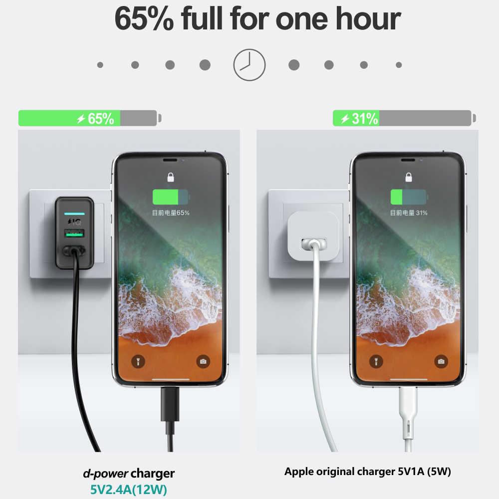 Dpower Dual USB Ponsel Charger 5V 2.4A Cepat Pengisian untuk Iphone Samsung Xiaomi Huawei Uni Eropa Plug Dinding Charger Telepon adaptor