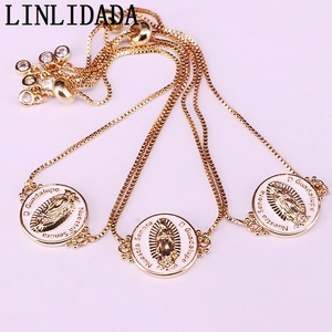 Image 4 - 12Pcs White color Enamel Round Connector Bracelets Adjustable Golden Jewelry