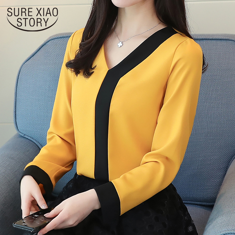 2019 Fashion Chiffon Office Lady Shirt Women Blouse Long Sleeve V-neck Women Tops Patchwork Women's Clothing Shirts Tops D826 30