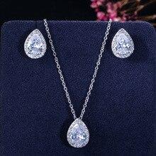 Jewelry-Sets Crystal Bridesmaids Cubic-Zirconia-Earrings Gifts Nigerian Water-Drop Luxury
