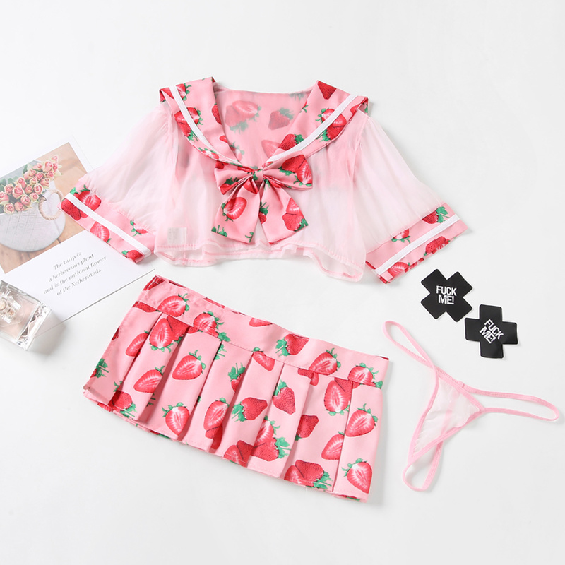 Cute Sailor Dress Lolita Strawberry Printed Cosplay Costume School Girl Uniform Sexy Kawaii Lingerie Set School Girl Costume