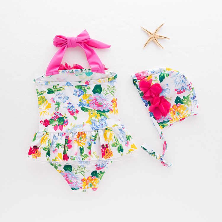 Koreaanse stijl KID 'S Badmode MEISJE Een stuk Zwemmen Pak Volledige Gedrukte Bloem Badmode Hemdje Warmwaterbronnen Tour Baden pak 2
