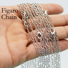 цена на 50 x Rhodium Plated Figaro Chain Necklace, Figaro Necklace, 18 24 Inches Chain Necklace, Antique Silver Color Necklace Chain