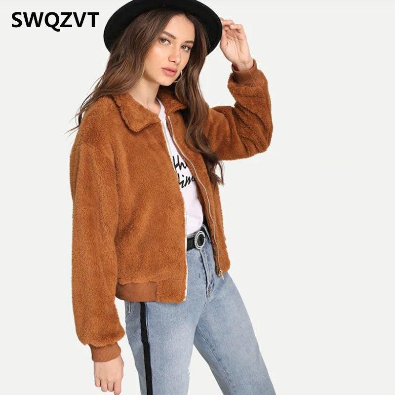 New Plush Warm Women   Jacket   Coat 2019 Winter Turn-down Collar Women Faux Fur Coats New Casual Ladies Streetwear   basic     jacket