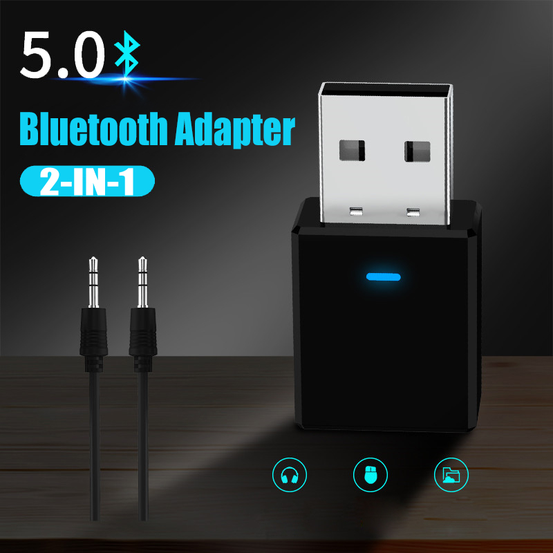 GOOJODOQ Bluetooth 5.0 Adapter Transmitter Receiver USB Wireless Dongle 2-in-1 for PC TV Car Bluetooth Music Audio Home Speaker