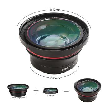 Obiektyw szerokokątny z mikro obiektyw do kamery wideo Ordro 4K kamera 37mm 0 39X YouTube Vlog akcesoria fotograficzne tanie i dobre opinie CN (pochodzenie) Stałej ogniskowej obiektywu 4 95~49 5mm F 2 8 2014 72mm 0 3kg Ordro FS-1 wide angle lens for video camera camcorder