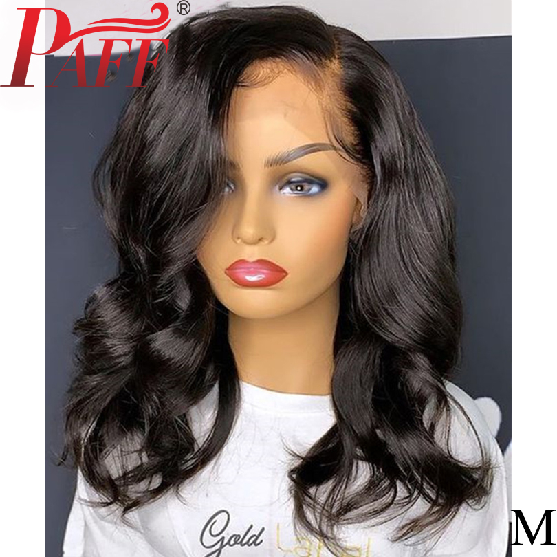 PAFF Side Deep Part 13*6 Lace Front Wig Human Hair Black Short Bob Wigs Wavy Blunt Cut  Remy Preplucked Hairline 180% Density