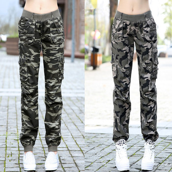 Womens Workout Camouflage Military Harem Cargo Jeans Pants Denim Overalls Beam Baggy Pant Ladies Loose Multi-pocket Trousers 1