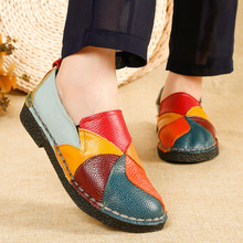 цены 2019 Designer Women Genuine Leather Loafers Ladies Ballet Flats Mixed Colors Slip On Loafers Platform Casual Shoes Size35-42