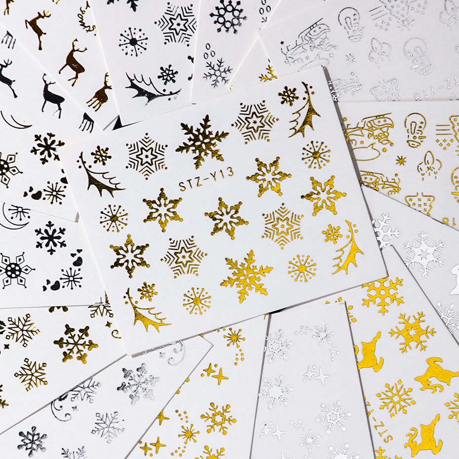 16pcset Winter Xmas Stickers For Nails Gold Silver Christmas Snowflake Water Transfer Decal Slider Manicure Decoration BESTZ-YA (15)
