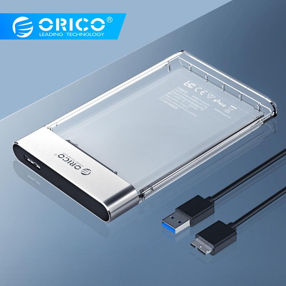 ORICO Caso HDD Novo 2.5 polegada SATA para USB 3.0 Disco Rígido Caso Transparente Adicionar Metal Ferramenta Livre 6 5gbps apoio UASP 4TB Caso Caixa Hd