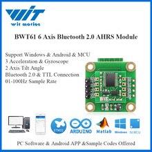 Witmotion bluetooth 2.0 ahrs bwt61 6 eixos sensor digital ângulo de inclinação + acelerômetro giroscópio mpu6050 inclinômetro para pc/android