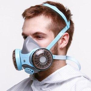 Image 2 - CK טק. בטיחות משקפי מגן עמיד הלם + סיליקון מגן נגד אבק מסכת ההנשמה נגד גז פורמלדהיד חומרי הדברה צבע מסכת סט