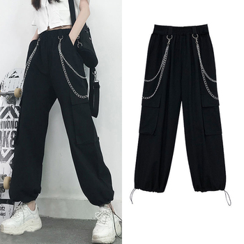 Pantalones de las mujeres Casual cintura elástica pantalones Jogger mujer suelta pantalones de Hip Hop de talla grande de alta cintura moda de calle pantalones S-4XL