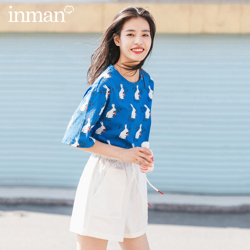 INMAN 2020 Summer New Arrival Pure Cotton Cute Funny Printed Vitality Leisure Short Sleeve T-shirt