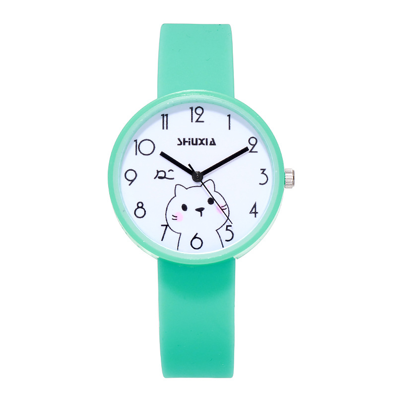 Cute Cat Kids Quartz Watches Simple Waterproof Analog Wristwatches Jelly Clock Boys Hours Girls Students Watch Children Clock Y7