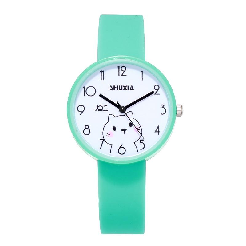 Cute Cat Kids Quartz Watches Simple Waterproof Analog Wristwatches Jelly Clock Boys Hours Girls Students Watch Children Clock Y7