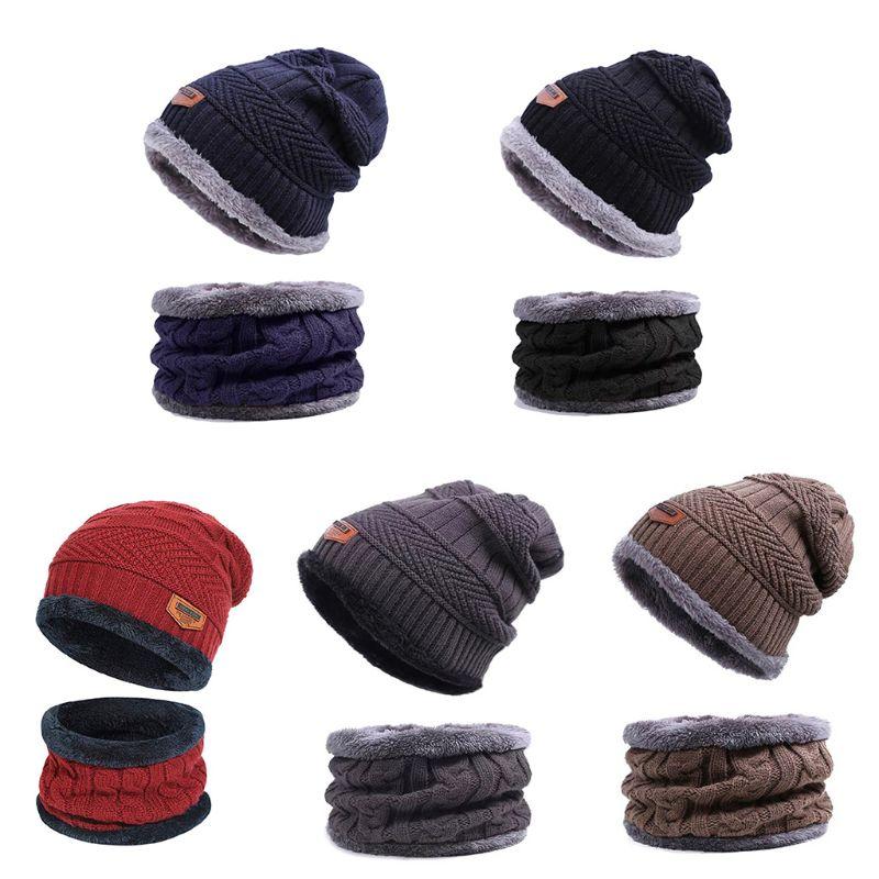 Men Women Winter Warm Beanie Hat Hat+Scarf Set Warm Knit Thick Fleece Lined Caps
