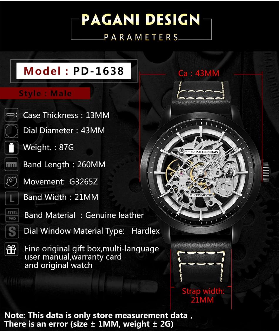 Pagani design marca venda quente 2019 esqueleto