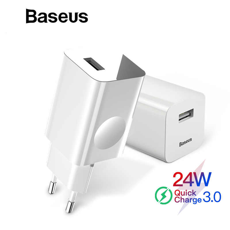 BASEUS 24W Quick Charge 3.0 USB Charger untuk iPhone X XR QC3.0 Dinding Charger Ponsel untuk Xiao Mi mi 9 Charger Cepat