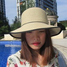Fashion Wide Brim Women Summer Sun Hat Casual Women Hat Panama Beach Hats Lady Vacation Sunhat With Black and White Bow Belt(China)