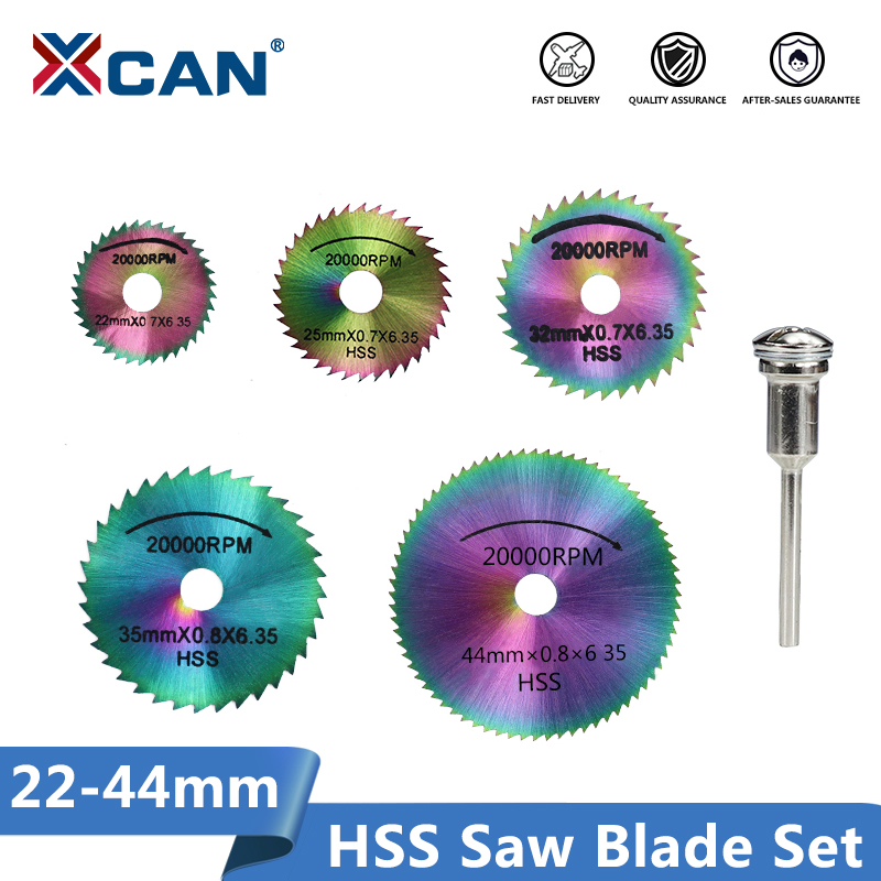 XCAN HSS Saw Blade Set 22/25/32/35/44mm With 3mm Shank  Mandrel Rotary Tools Wood Saw Disc Mini Cicular Cutting Disc