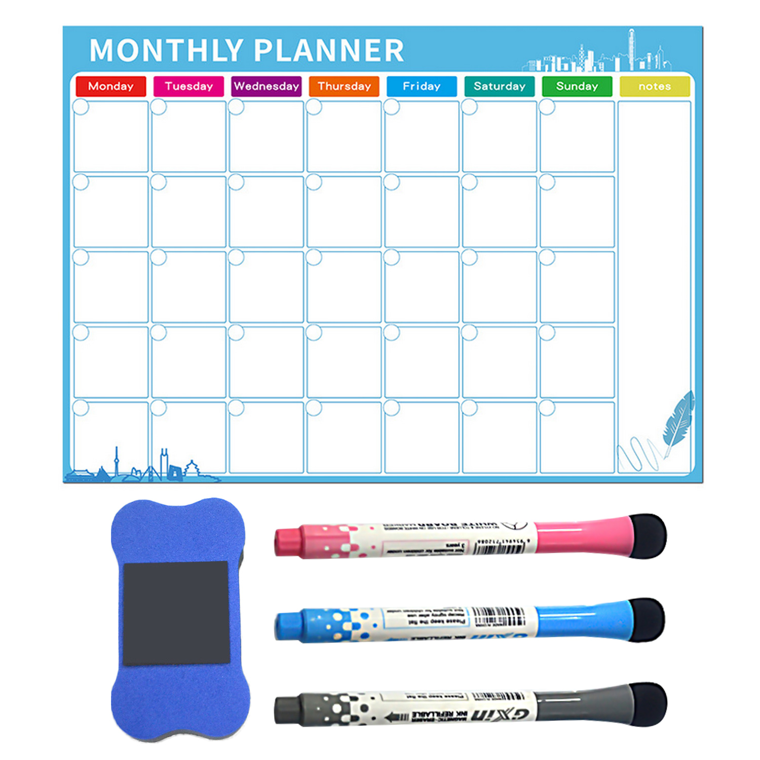 Magnetic Monthly Planner Dry Erase Calendar Board Refrigerator Magnet With 3pcs Markers For Home Office Shops 40 X 30cm 2020