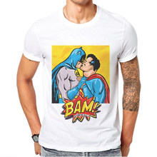 Super héros hommes t-shirt film Superman Batman Bam dessin animé hommes T-Shirts 100% coton blanc col rond homme t-shirt Camiseta Hombre t-shirt(China)