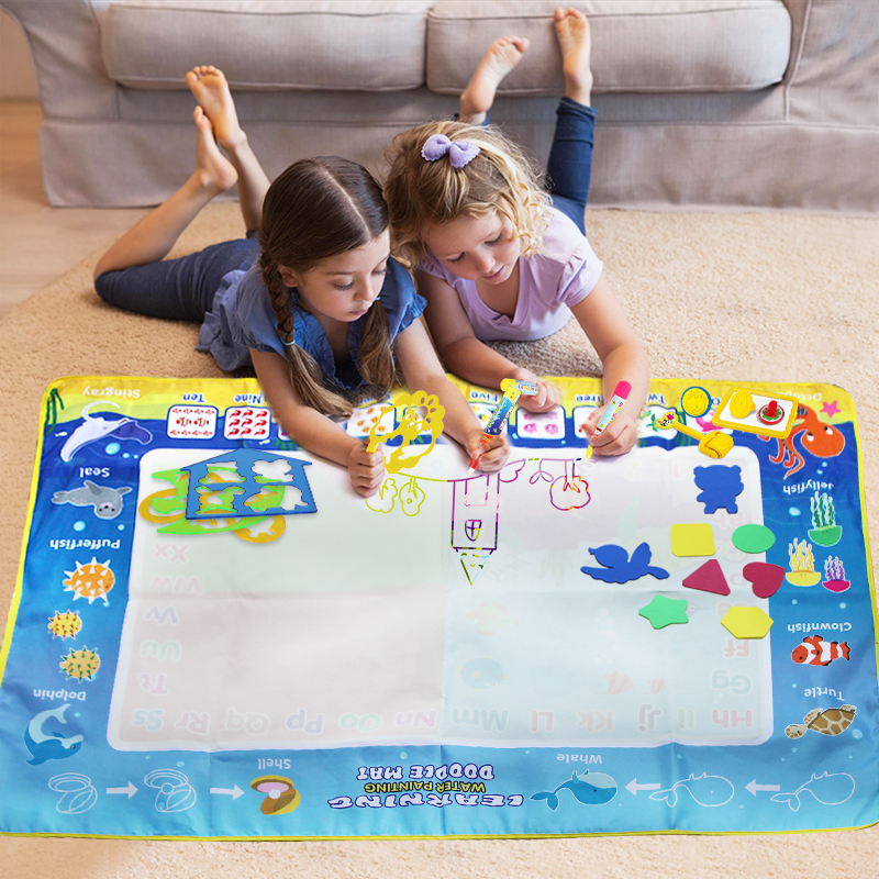 120*80cm Children Funny Water Drawing Mat Drawing Coloring  Rug Painting Board & 3 Pens & Stamps Doodle Set Kid Educational Toys