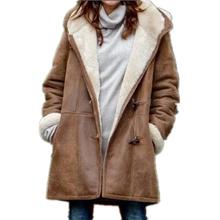 Płaszcz zimowy kobiety PU skóra polarowa kurtka z kapturem kobiety odzież stałe zimowe ciepłe długie kurtki kobieta kurtka PU płaszcz tanie tanio CN (pochodzenie) Zima Przycisk klaksonu Nieregularne Na co dzień Pełne NONE women coat Dla osób w wieku 18-35 lat