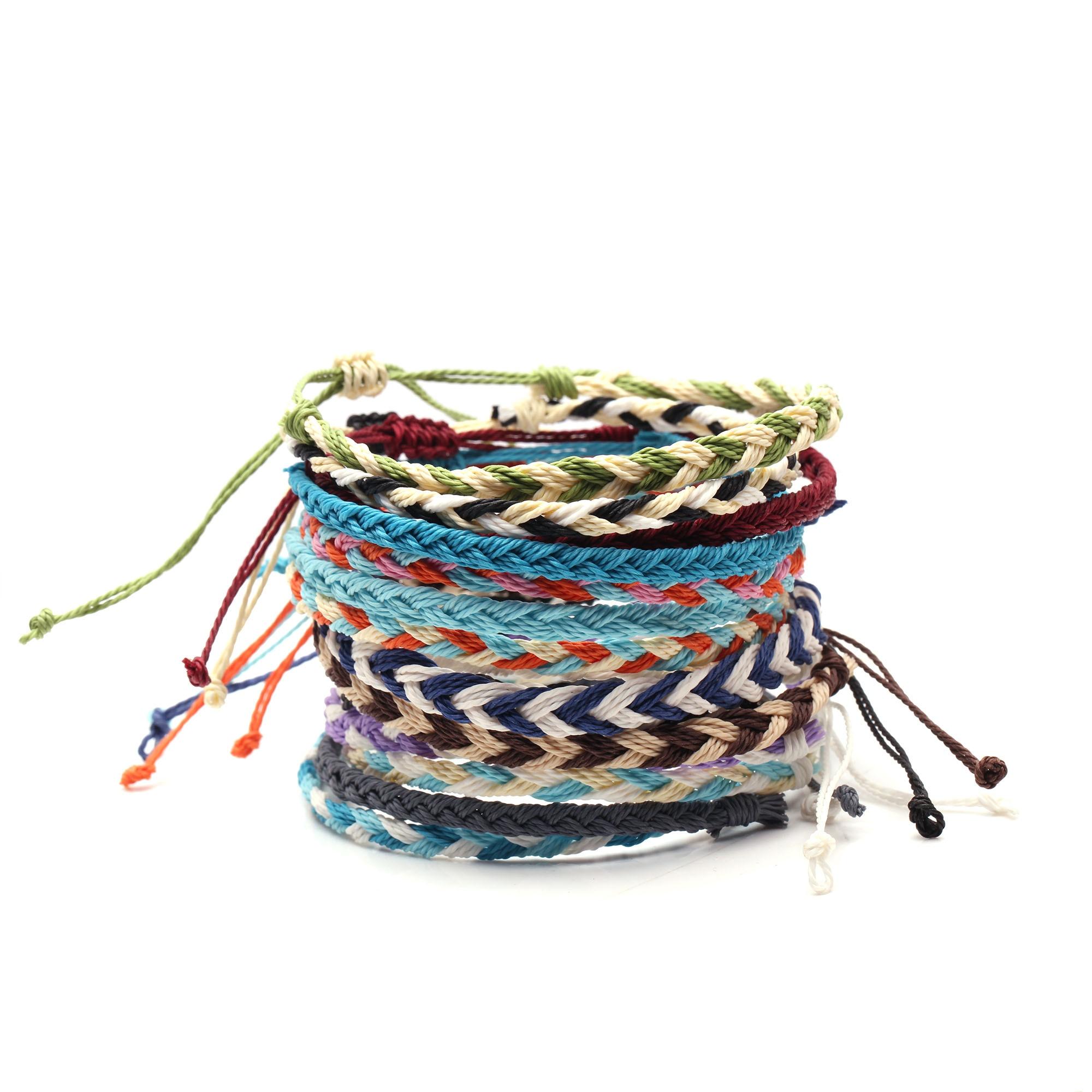 Cute Multistring Braided Bracelets Women Men Waterproof Waxed String White Waves Ocean Sunrise Black Mini Braided Surf Jewelry