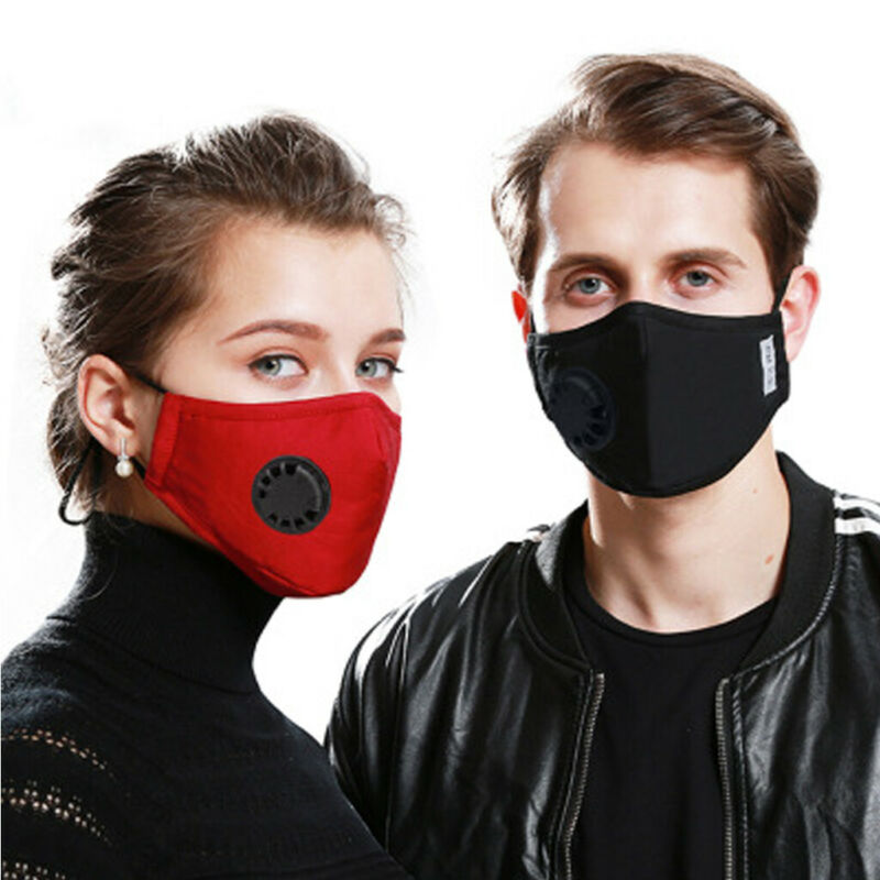Cotton Face Mask Mouth PM2.5 Mask Activated Carbon Mask Filter-Washable Double Valve Breathing Valve Mask Wiht Filter