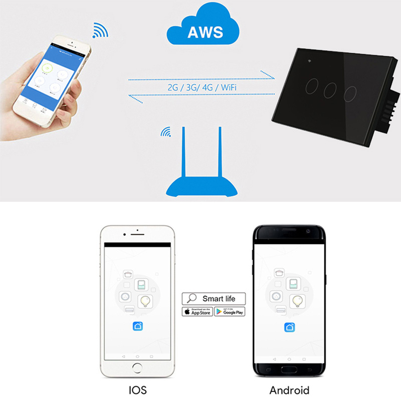 Image 2 - US WIFI Smart Touch Switch 1 2 3 4 Gang Wall Light Wireless Remote Control Switch 220V 1 2 3 Way Tuya Smart Home Alexa GoogleSwitches   -
