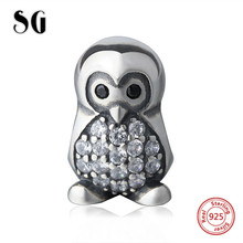 SG cute penguin Beads with CZ Sterling Silver Diy Pendant Charms fit Authentic pandora Charm Bracelet Fashion Jewelry for gifts sg 925 sterling silver cute cock charms beads animal collection fit original pandora bracelet pendant fashion jewelry for gifts