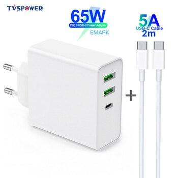 65 Вт TYPE-C USB-C адаптер питания, 1 порт PD60W QC3.0 зарядное устройство для USB-C ноутбуков MacBook Pro/Air iPad Pro,2 порта USB для Samsung iPhone