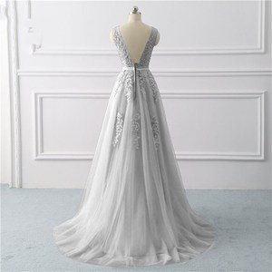Image 2 - Beauty Emily Lace Appliques V neck Long Evening Dresses 2020 Bride Sexy Sleeveless Formal Party Prom Dresses Custom