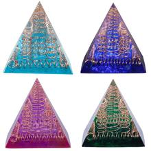 TUMBEELLUWA Orgonite Crystal Chakra Pyramid Energy Converter Reiki Resin Metal Spiral Crafts Decoration for Good Luck Gift
