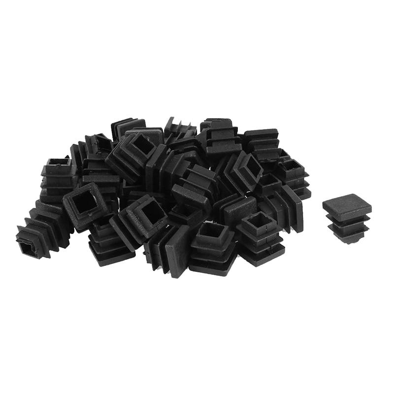 50 Pcs Plastic Blanking End Cap Square Tube Insert 16mmx16mm Black