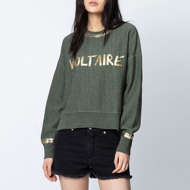 Rowling Green Letter Printing Women Sweatshirt 2021 Autumn New O Neck Long Sleeve Casual Wild Lady Sweatshirt  Pullover Tops 1