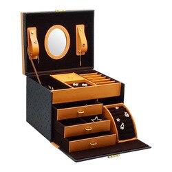 Caja de joyería de alta gama para el hogar, caja de joyería de cuero para guardar joyas, caja de joyería de alta gama