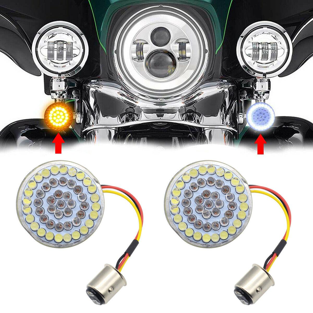 Feu clignotant LED 2 ''style balle 1157 ambre/blanc pour Harley Road King 1986 – 2018