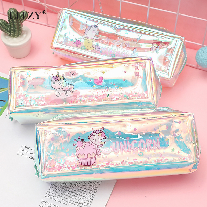Unicorn Pencil Case Laser Estuches Quicksand Pencil Case For Girls Boys Kawaii Pencil Box Bag School Supplies Stationery Gift