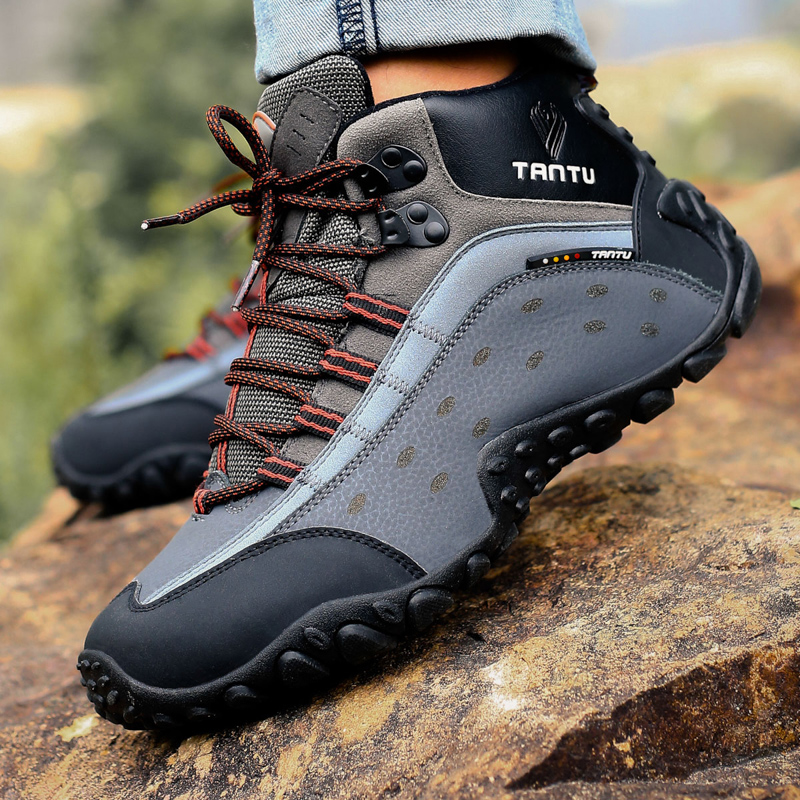 Men Hiking Shoes Waterproof Breathable Leather woodland trekking shoes male Anti-S Sport mountain climbing hiking Outdoor boots