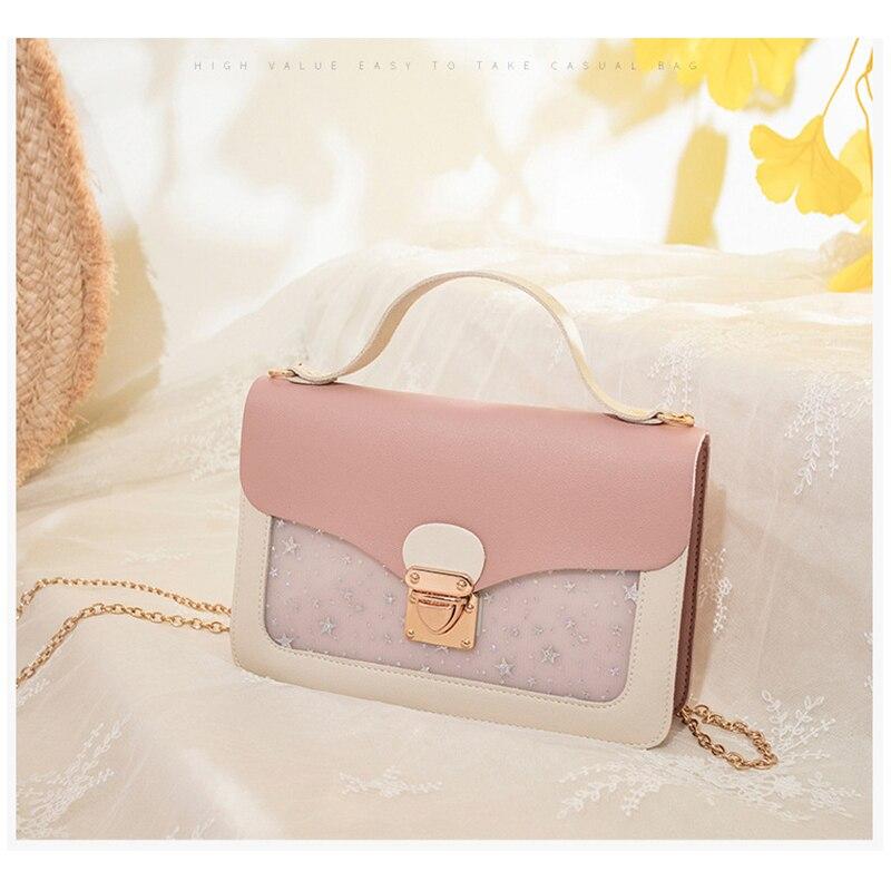 Women Contrast Color PU Crossbody Bag Woman Minimalist Handbag Graceful Shoulderbag Individual Lady Handbag Longlight Bag